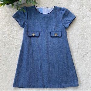 Bella bliss blue tweed shift dress ruffle sleeves